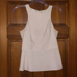 Cream Peplum Tank Blouse